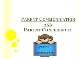 Parent Communication and Parent Conferences