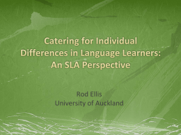 Catering for Individual Differences