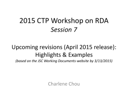 2015 CTP Workshop on RDA Session 7 Upcoming …