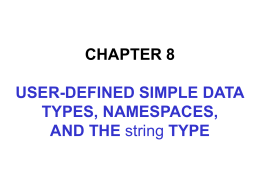 Chapter 8 User Defined Simple Data Types