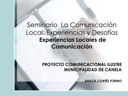 PROYECTO COMUNICACIONAL ILUSTRE MUNICIPALIDAD …