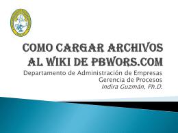 Como Cargar Archivos al Wiki de PBWORS.COM