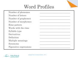 Word Profiles - Neuhaus Education Center