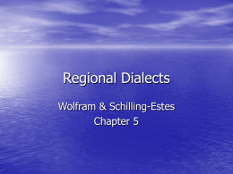 Regional Dialects - University of Alabama