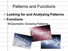 Patterns and Functions