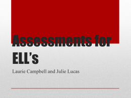 Assessments for ELL's