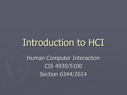 Introduction to HCI - University of Florida