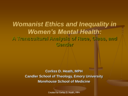Womanist Ethics and Inequality in Women's Mental …