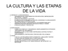 LA CULTURA Y LAS ETAPAS DE LA VIDA