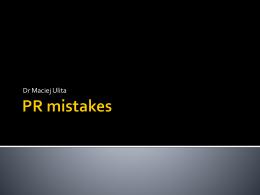 PR mistakes