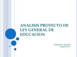BREVE ANALISIS PROYECTO DE LEY GENERAL DE …