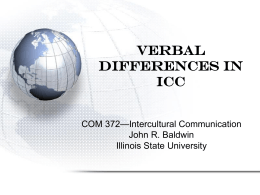 Verbal and Nonverbal Differences in ICC