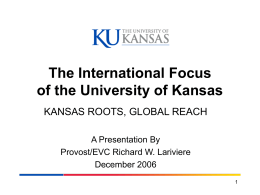 The International Focus of the University of Kansas