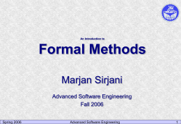 Formal Methods - University of Tehran