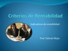 Criterios de Rentabilidad