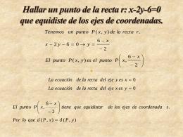 Hallar un punto de la recta r: x-2y