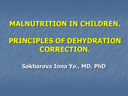 MALNUTRITION IN CHILDREN. PRINCIPLES OF …