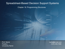 EIN 4905/ESI 6912 Decision Support Systems Excel