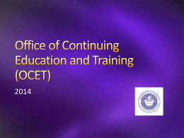 Office of Continuing Education (OCET)