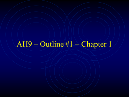 AH9 – Outline #1 – Chapter 1 - Fort Cherry School District
