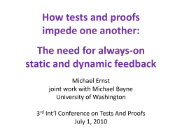 How tests and proofs impede one another: The need for