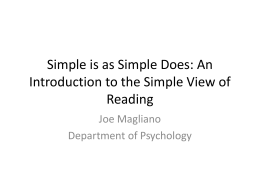 An Introduction to the Simple View of Reading