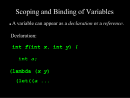 Scoping and Binding of Variables