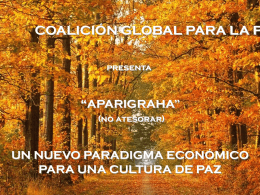 Aparigraha – A New Economic Paradigm for a Culture of …