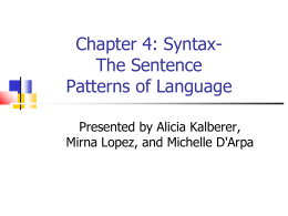 Chapter 4: Syntax- The Sentence Patterns of Language