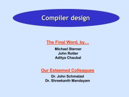 Compiler . ppt - rowan - Rowan University