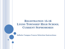 Registration 12-13 Lyons Township High School