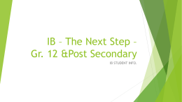 IB – The Next Step – Post Secondary