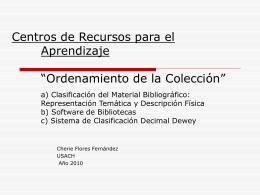 """Centros de Recursos para el Aprendizaje """"Ordenamiento …"""