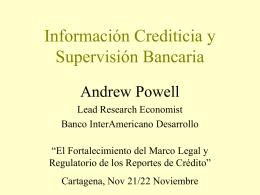 Informacion Crediticia y Supervision Bancaria