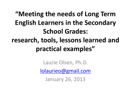 Meeting the needs of Long Term English Learners in the