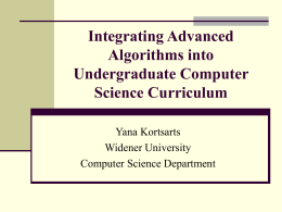 Advanced Algorithms in the Undergraduate Computer …