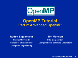 OpenMP: An Industry Initiative in Support of Portable …