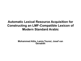 Automatic Lexical Resource Acquisition for Constructing an