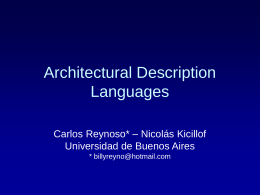 Architecture Design Languages