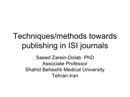 Techniques/methods towards publishing in ISI journals