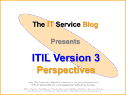 ITIL V3 Perspectives - ITIL Blog