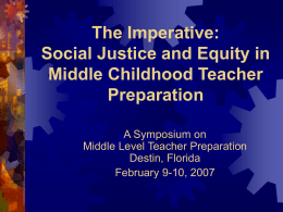 SOCIAL JUSTICE AND EQUITY: A MIDDLE CHILDHOOD …