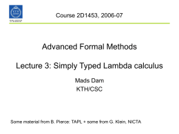 Advanced Formal Methods