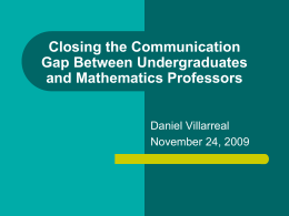 Closing the Communication Gap Between Undergraduates …