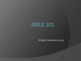 Bible 101 - St. Mark Coptic Orthodox Church of DC