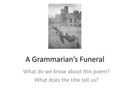 A Grammarian's Funeral