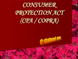 CONSUMER PROTECTION ACT (CPA / COPRA)