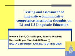 Testing and assessment of linguistic