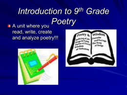 Introduction to 9th Grade Poetry