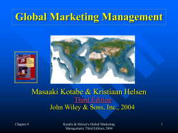 GLOBAL MARKETING MANAGEMENT by MASAAKI …